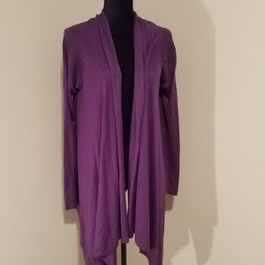 Purple high low cardigan